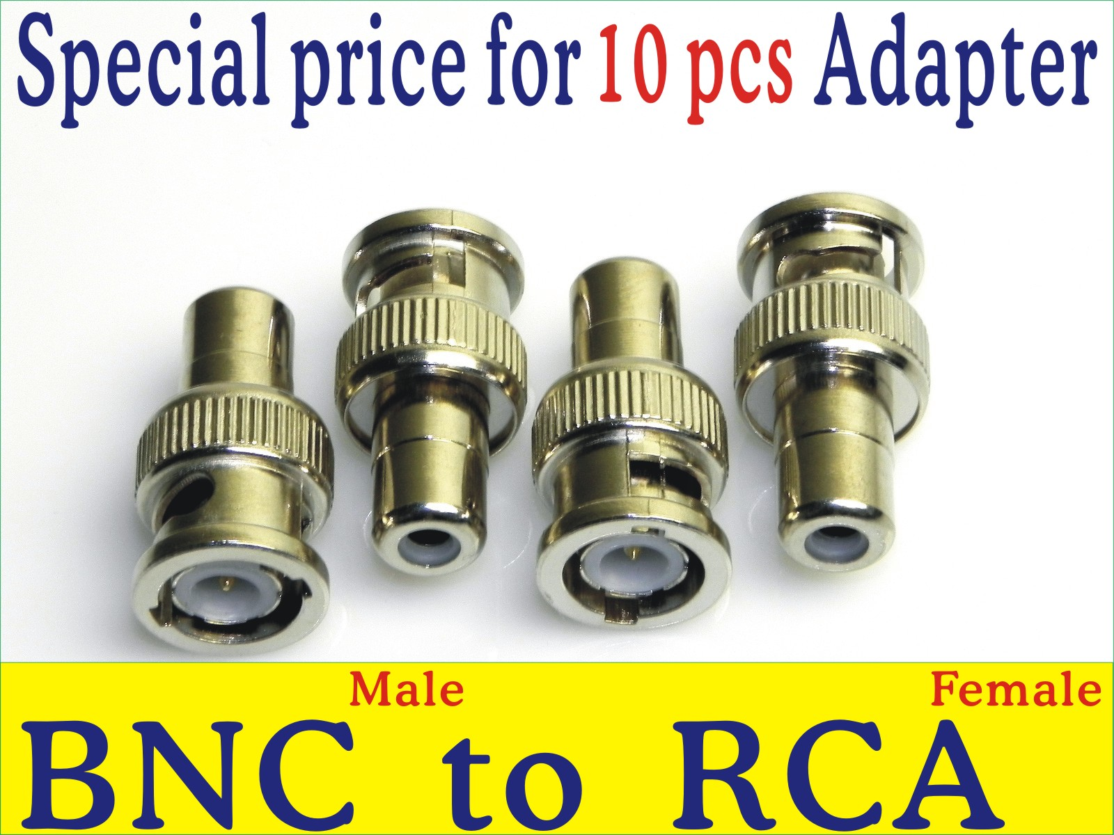 RCA to BNC Adapter, connect CCTV Camera to DVR system, 10 pcs