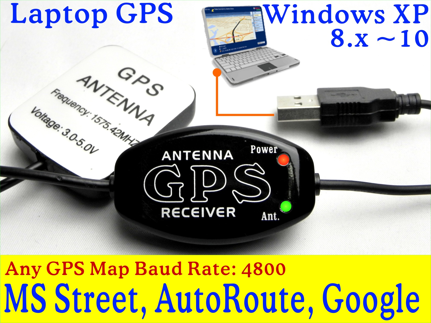 laptop tablet gps receiver yacht mount with 310 meter cable marine antenna work with marine chartplotter vehicle gps